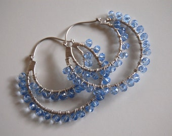 Tanzanite double hoop earrings