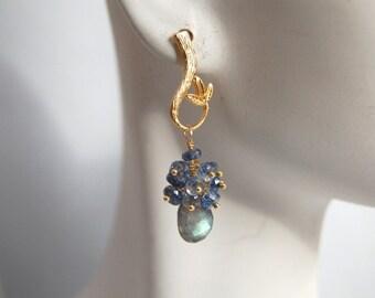 AAA Labrarorite pear briolette and blue quartz rondelles earrings
