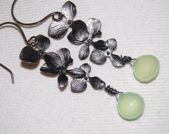 Neon lime green chalcedony and flower charm earrings