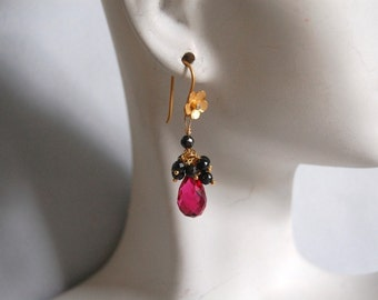 AAA hot pink quartz and black spinel dangle earrings