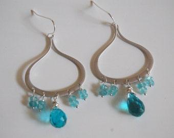 London blue quartz, Apatite Chandelier earrings