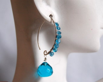 London blue quartz and London blue Topaz earrings