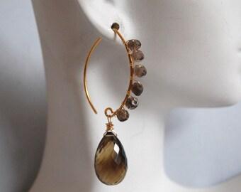 Beautiful bi-color Smoky quartz and vermeil earrings