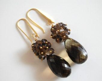 Bi-colour Smoky quartz briolette  earrings