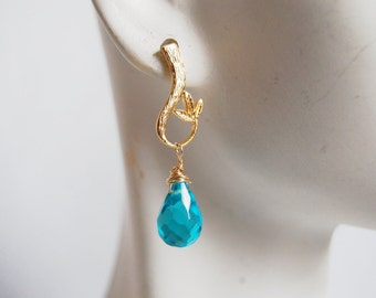 Swiss Blue Quartz dangle Earrings