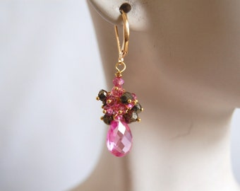 AAA Hot Pink quartz,mystic Rubelite and mystic spinel earrings