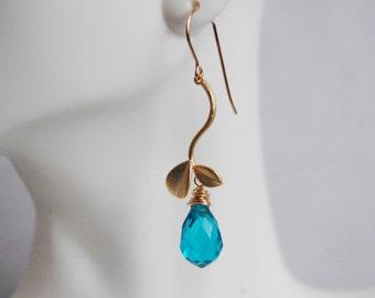 Swiss Blue Quartz and leaf connector dangle  Earrings