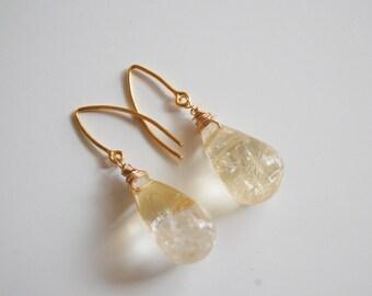 Golden Rutilated Citrine dangle Earrings