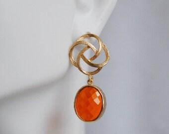 Bezel setting Glass  oval  Fire opal dangle earrings