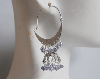 Gorgeous Sparking Light Purple  Quartz Chandelier earrings