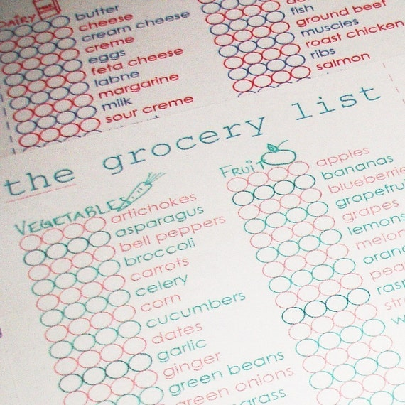The Grocery List, Editable, Printable PDF, great for Meal Planning