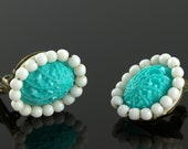 Vintage Turquoise and White Seed Bead Clip On Earrings, beaded, cabochon, retro, women's ladies, pattern, costume jewelry