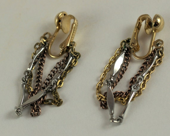Vintage Chain Clip On Earrings, retro, women's ladies, dangle, silver, copper, gold, costume jewelry