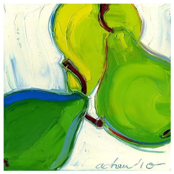 Original painting - Three Green Pears - 12X12 - Modern Fine Art