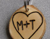 Personalized Valentine Gift Key Chain Rustic Natural