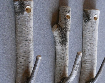 Set of 3 Birch Branch Hooks Rusic Natural Home Decor