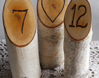Rustic Wedding Hand Wood Burned Table Numbers of Birch Branches for Weddings, Holiday Parties