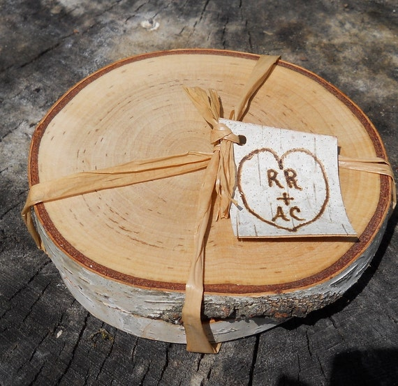 Reserved - 20 Pairs of Personalized Rustic Birch Coasters Wedding Favor