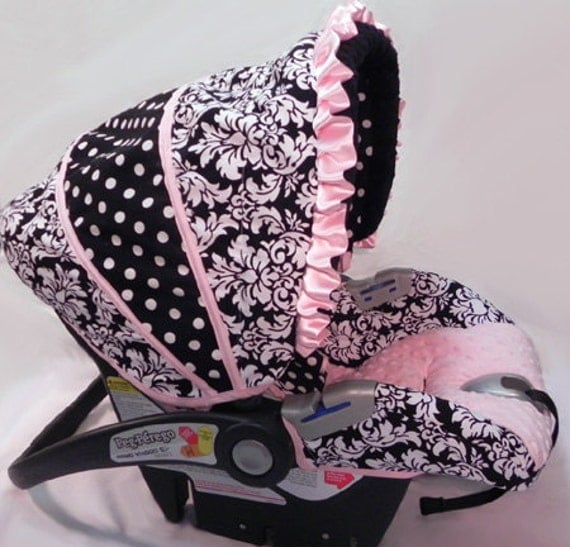 Custom Boutique Black Dandy Light Pink MInky Infant or Toddler Car Seat Cover