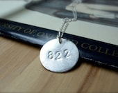 Special date hand stamped silver disc necklace - secret love message personalized sterling silver necklace.