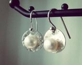 Pearl earrings dangles - freshwater pearl sterling silver earrings - elegant women jewelry earrings for everyday wear