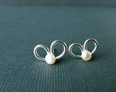 Cute bow earrings silver studs - Petite freshwater pearl earrings - Butterflies earrings silver studs for her everyday wear