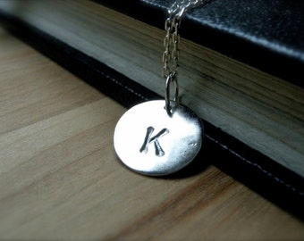 Initial K necklace hand stamped silver disc necklace - Personalized jewelry initial L initial N necklace birthday gift idea for her