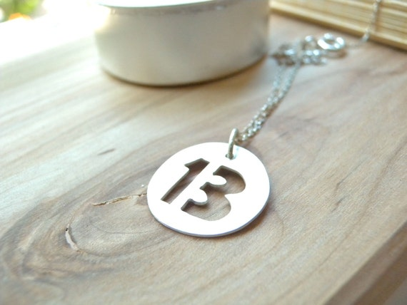 Lucky number 13 thirteen silver disc necklace - Personalized sterling silver jewelry gift idea - Unique artisan jewelry