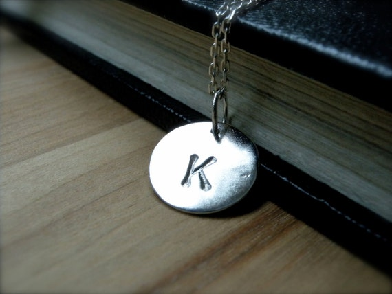 Initial K necklace hand stamped silver disc necklace - Personalized jewelry gift idea - Initial L initial N necklace for everyday wear