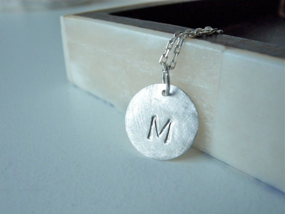 Initial M Initial R necklace brushed matte silver disc necklace - Personalized hand stamped necklace for everyday wear perfect birthday gift