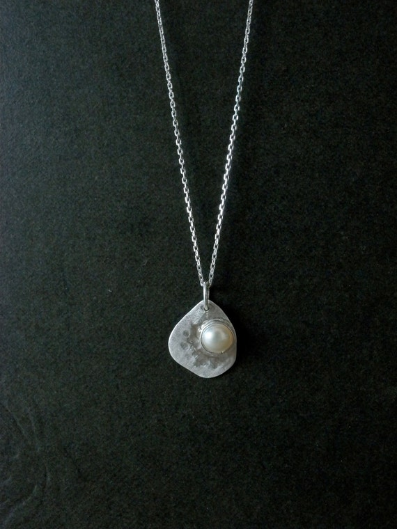 Pearl Necklace Moon silver necklace one of a kind jewelry - Pearl pendant hammered silver necklace for her - Unique art work