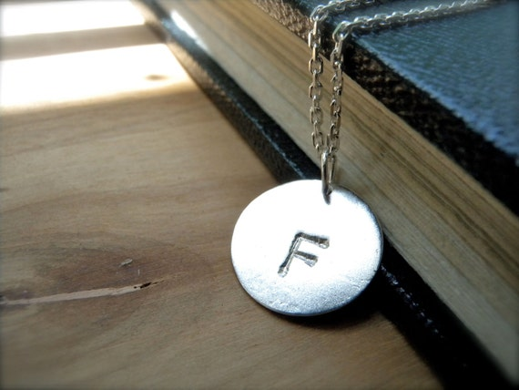 Initial F necklace hand stamped silver disc necklace - Personalized letter necklace sterling silver jewelry