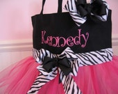 Embroidered Dance Bag  - Zebra Print and Hot Pink With Matching Hair Bow