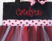 Tutu Tote Bag - Lady Bug  with matching hair bow