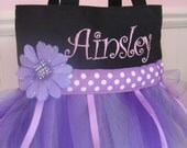 Embroidered Dance Bag - Mini Princess Purple Tutu Tote Bag
