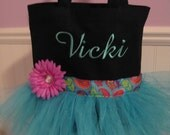 Emnbroidered Dance Tutu Tote Bag - Black and Turquiose With Embroidered Name