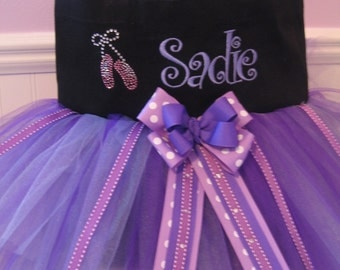 Embroidered Dance Bag - With Ballet Slipper Bling and Embroidered Name