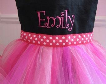 Tutu Dance Tote Bag - Black and Pink Monogrammed Bag