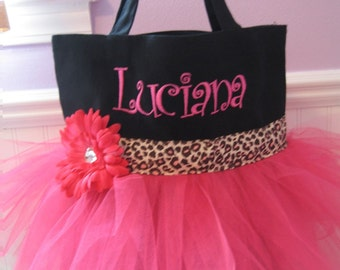 Embroidered Dance Bag - Cheetah and Pink Tutu Tote bag