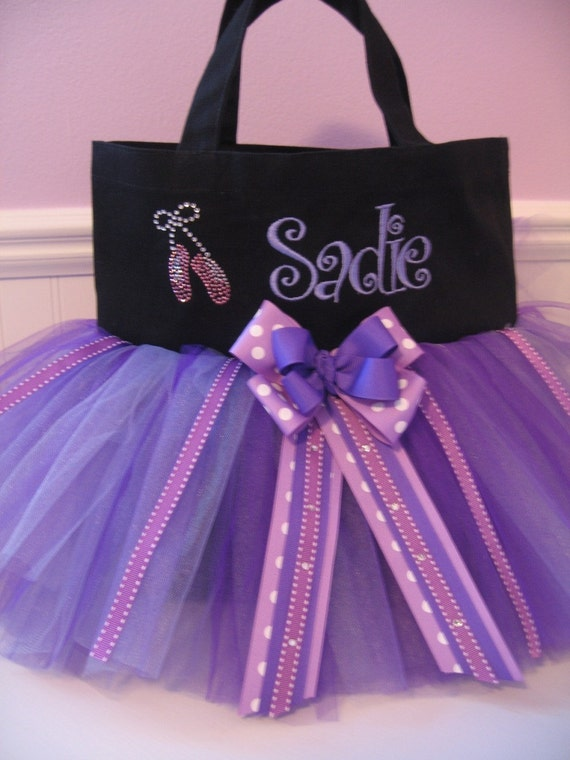 Embroidered Dance Bag - With Ballet Slipper and Embroidered Name