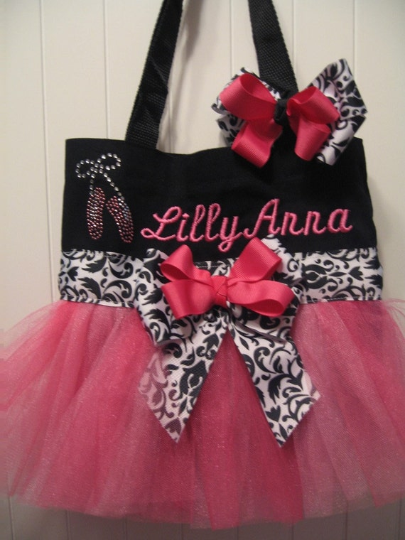 Embroidered Dance Bag -  Mini Black and Pink with ballet slippers and matching hairbow