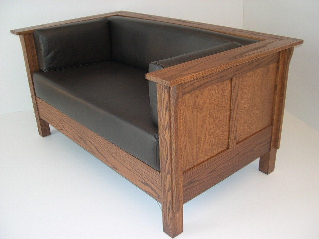 Mission Arts Crafts Prairie Stickley Style Settle Loveseat