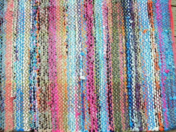 Rag Rug Handwoven Recycled Cotton Knit In Bright Colors