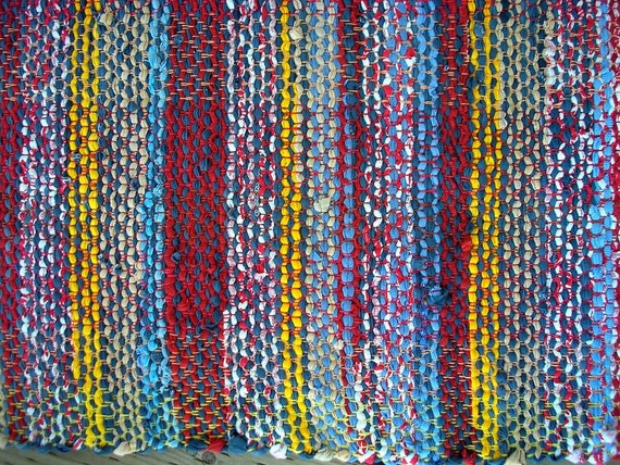 Rag Rug, Handwoven Recycled Cotton Knits,  Lively Reds/Whites/Blues/Yellows