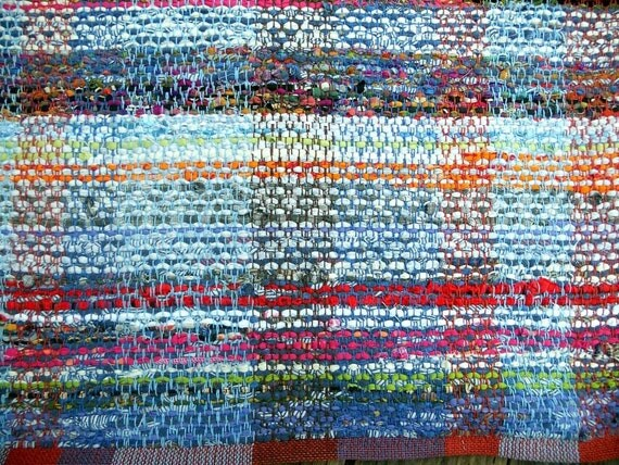 Handwoven Rag Rug Recycled Cotton