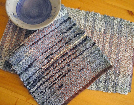 Table Runner or Narrow Rag Rug Handwoven Recycled Denim