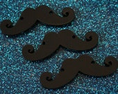 3 x laser cut acrylic curly moustache charms