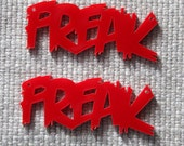2 x Red laser cut acrylic Freak pendants