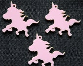 3 x Laser cut acrylic unicorn pendants