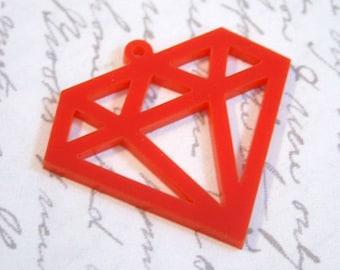 3 x Laser cut acrylic Diamond pendants - any colour